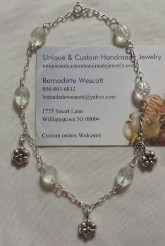 ladybug and flower sterling silver handmade anklet sizing available