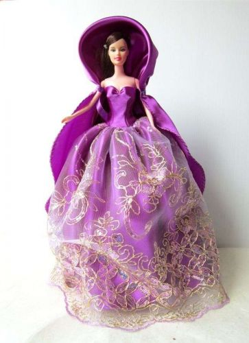 PURPLE FROZEN GOWN COSTUMES DRESS UP OUTFIT FANCY FASHION FOR BARBIE, DOLLS 12""