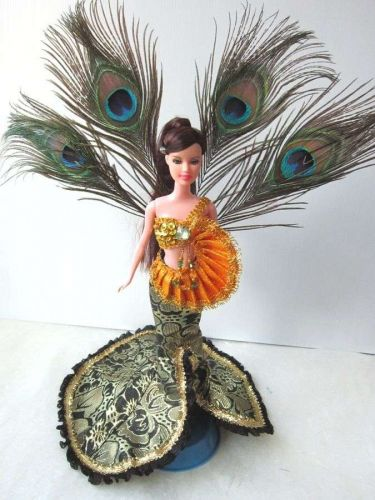 THAI DRESS UP PEACOCK FANCY GROWN CLOTHES SHANDMADE FASHION FOR BARBIE DOLLS 12""