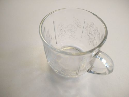 Coffee cups - Crisal - Portugal - Glass - Mint condition - Floral Leaves symbols