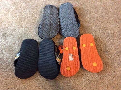 3 pair lot of Toddler Boys Flip Flop Sandals Size 5/6 Disney Cars, Puma