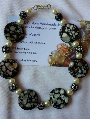 """star and """"moon"""" black and white handmade anklet sizing available"""