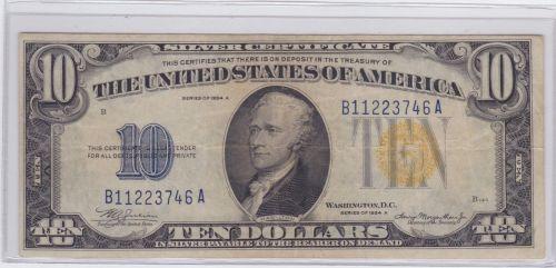 1934-A Silver $ 10 Silver Certificate W.W.II Currency