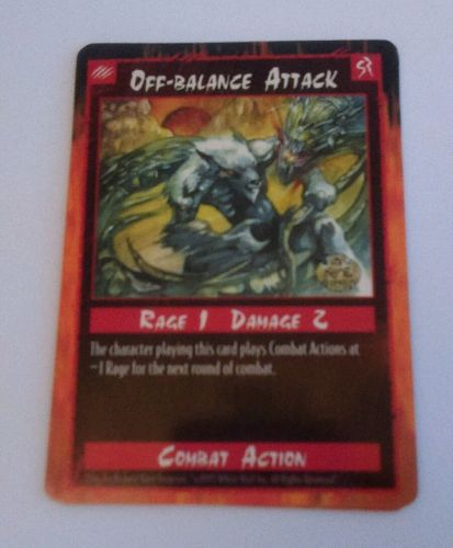 Rage Off Balance Attack Trading Card Combact Action 1995