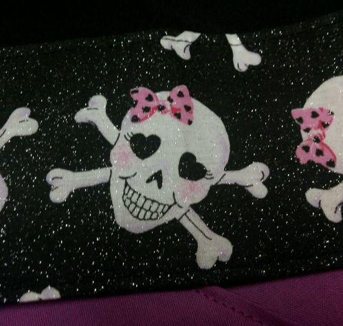 Headband hair wraptie bandanna Skulls pink bows black glitter fabric