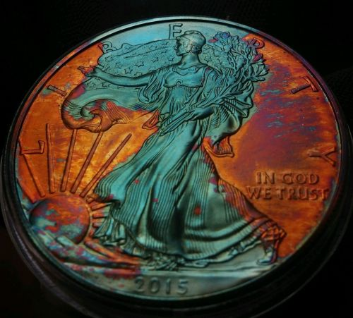 2015 Rainbow Toned Silver American Eagle 1 ounce fine silver uncirculated #a283
