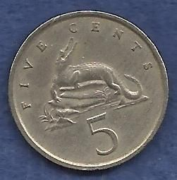 JAMAICA 5 Cents 1975 Crocodile Coin!