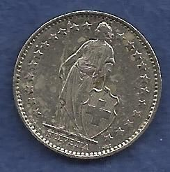 Switzerland 1/2 Franc 1980 - Standing Helvetia with Lance and Shield