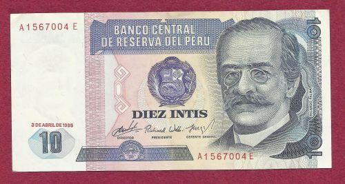 PERU 10 Diez Intis 1985 Banknote A1567004E South American Currency - Crisp Note!