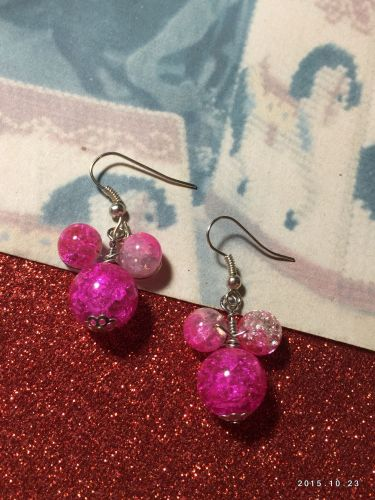 Disney Minnie Mouse Hand Beaded Earrings