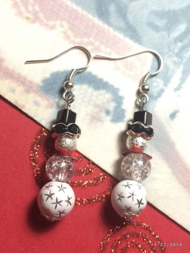 Christmas Frosty Inspired Snowman Hand Beaded Earrings