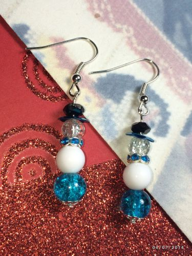 Christmas Icy Blue Snowman Hand Beaded Earrings