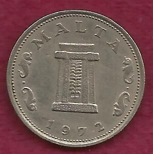 MALTA 5 CENTS 1972 COIN - DOLPHIN COIN - Altar in the Temple of Hagar Qim