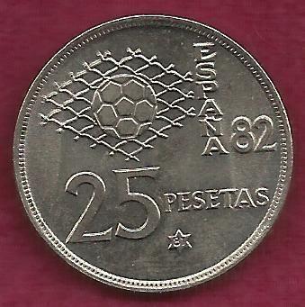 SPAIN 25 Pesetas 1980 COIN - Spain / World Cup Soccer Games - Engraved Rim