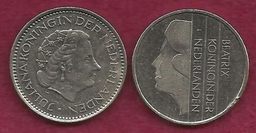 SPECIAL: Type Set - Two One Guilder Coins (Netherlands) 1978 & 1992 - TWO COINS !