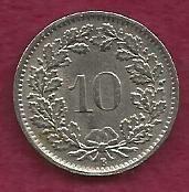 Switzerland 10 Rappen 1966 Libertas Goddess of Liberty Coin