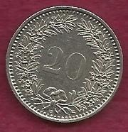 Switzerland 20 Rappen 1991 Libertas Goddess of Liberty Coin