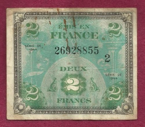 France 2 Francs 1944 Historical WWII Currency Occupation Money Banknote 26928855