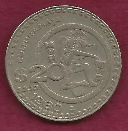 Mexico $ 20 Pesos 1980 Coin, Cultura Maya Commemorative Mexican Coin - Engraved Rim