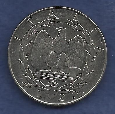 Italy 2 Lire 1940 Coin WWII ERA Currency Kingdom of Italy - Vittorio Emanuel II