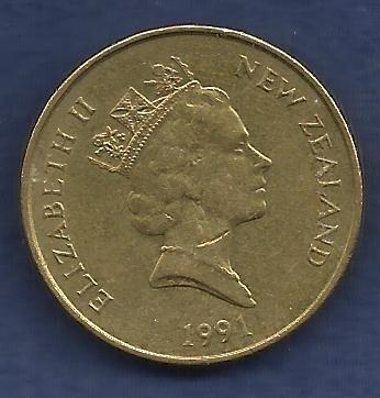 NEW ZEALAND 2 Dollars 1991 Coin White Heron bird