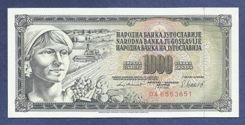 YUGOSLAVIA 1000 DINARA 1981 Banknote DA 6553651 UNCirculated Peasant Woman