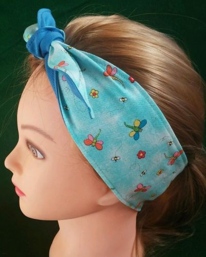 Headband hair wraptie bandana Hippie Boho Dragonflies print 100% Cotton
