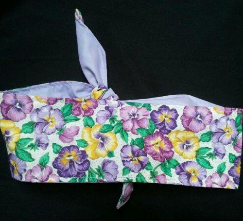 Headband hair wraptie bandana Vibrant Floral self tie hand made 100% cotton