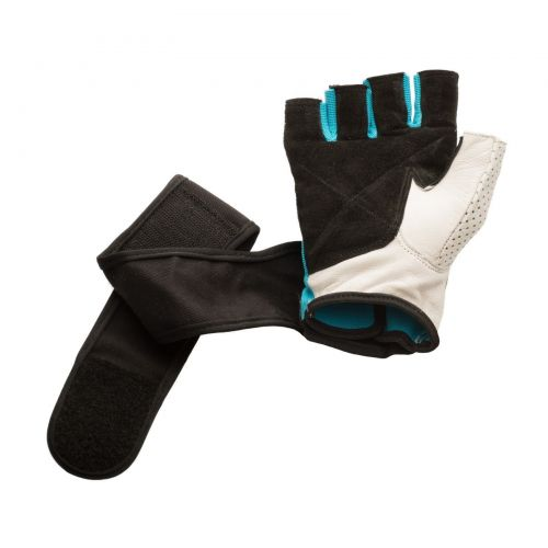 White Leather Weight Lifting Gloves with Cotton Wrist Wrap Support, Mens X-Large