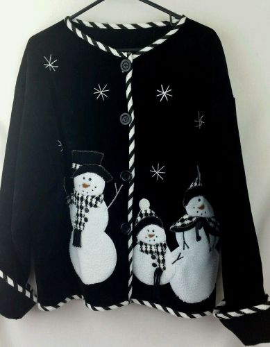 Snowman Black Large Jacket Holiday Christmas