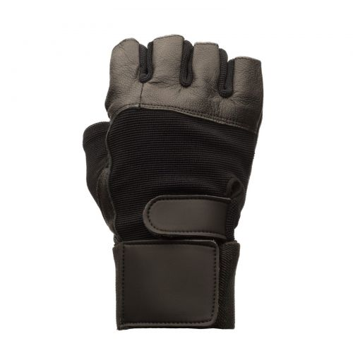 Black Leather Weight Lifting Gloves, Mens Medium with Elastic Wrist Wraps, Pair