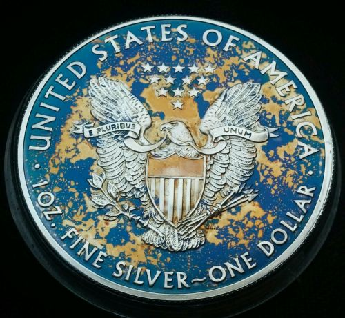 2015 Rainbow Toned Silver American Eagle Coin 1 ounce silver uncirculated #a279