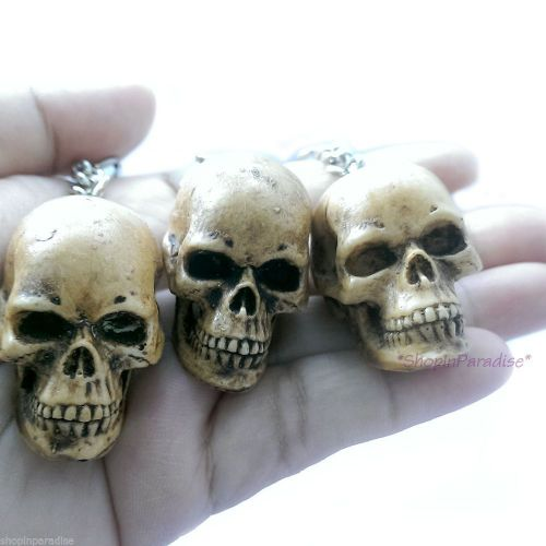 3 x Skull Bonehead Resin Handmade Key Chain Collectibles Keyring Keychain Gift