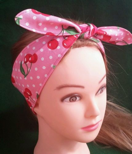 Headband hair wraptie bandana Cherry Print Hippie Boho 100% Cotton hand made