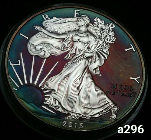 2015 Rainbow Toned Silver American Eagle 1 ounce fine silver uncirculated #a296