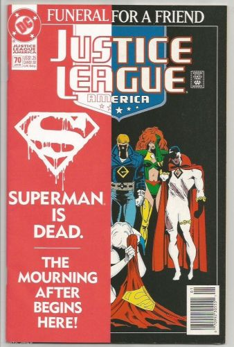 Justice League of America #70 FUNERAL 4 Superman 1stPrintDC COMICS Jurgens 1993