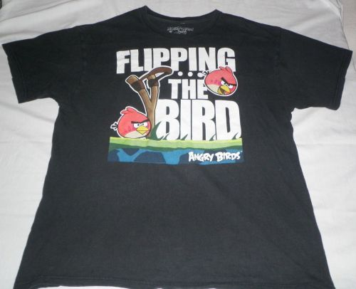"""ANGRY BIRDS """"Flipping The Bird"""" Video Game/App Themed T-Shirt Adult/Mens Size XL"""