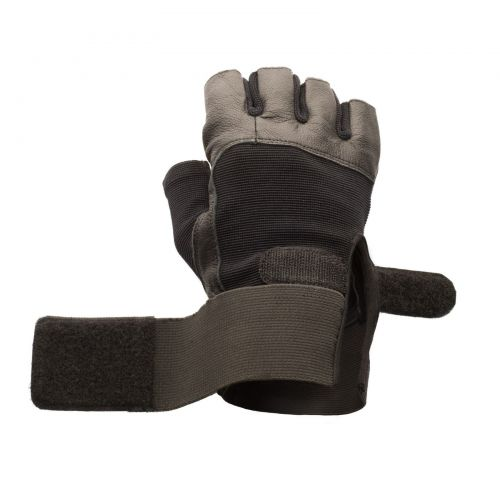Black Leather Weight Lifting Gloves, Mens Small with Elastic Wrist Wraps, Pair