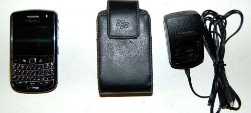 BlackBerry Bold 9650 Black Verizon Smartphone Leather Case Memory Card & Sim