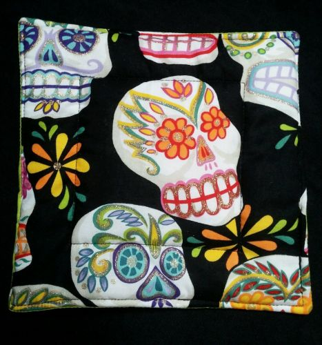100% quilted Cotton Pot Holder Day of the Dead Sugar Skulls hand made