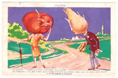 VERY RARE 1920s VEGETABLE VEGGIE TOMATO PEOPLE VINTAGE POSTCARD ANTHROPOMORPHIC