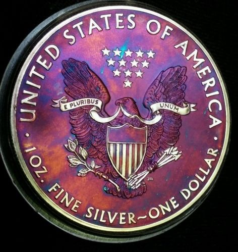 2013 Rainbow Toned Silver American Eagle 1 troy ounce silver impared please read