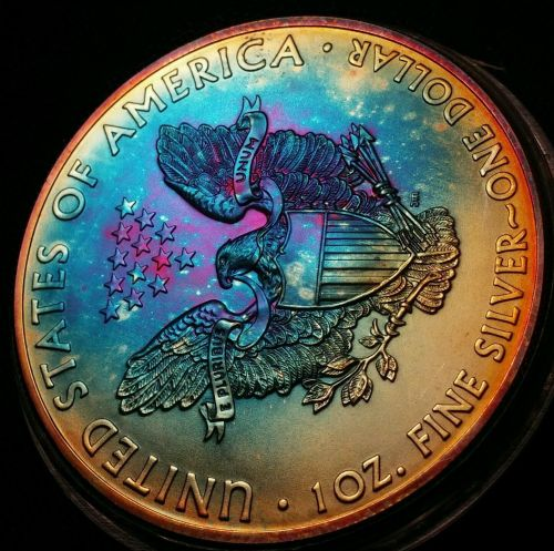 2015 Rainbow Toned Silver American Eagle 1 ounce fine silver uncirculated #a256