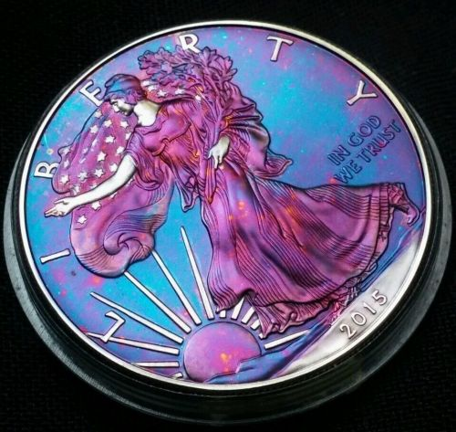 2015 Rainbow Toned Silver American Eagle 1 ounce fine silver uncirculated #a225