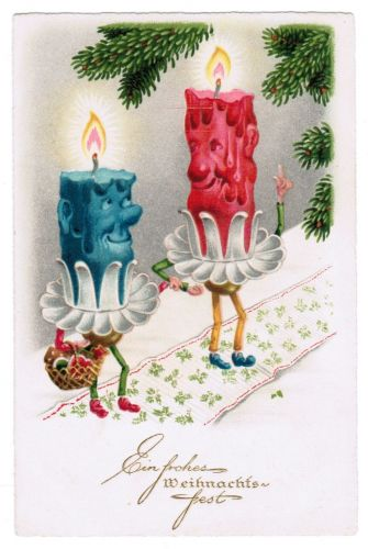 VERY RARE c1920s CHRISTMAS CANDLE PEOPLE HUMAN FANTASY ANTHROPOMORPHIC POSTCARD