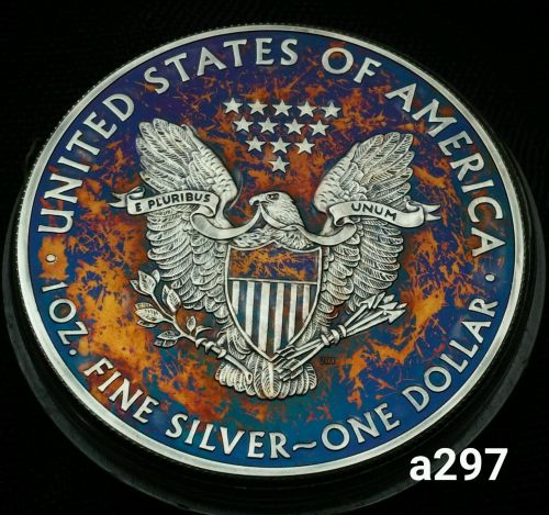 2015 Rainbow Toned Silver American Eagle 1 ounce fine silver uncirculated #a297