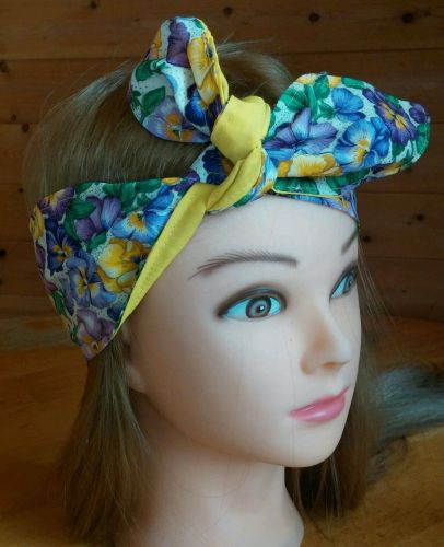 Headband hair wraptie bandana Vibrant Floral boho hippie hand made 100% cotton