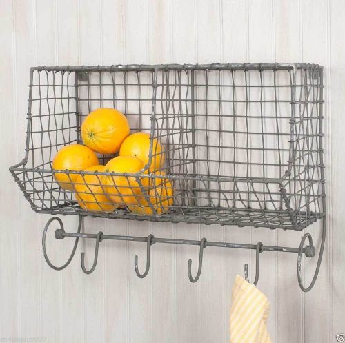 Hanging General Store Wire Wall Shelf Basket Storage Bin Hooks Country Decor
