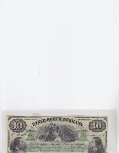 1873 $ 10 State South Carolina Currency