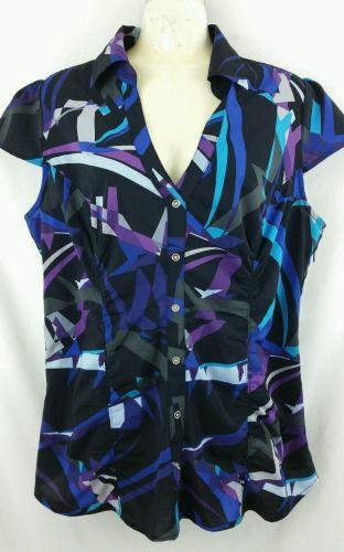 Express Design Studio Large Graphic Blouse shirt Black Purple
